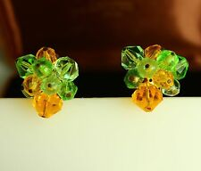 Western Germany green yellow acrylic bead vivid cluster clip on  EARRINGS