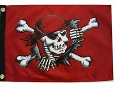 """Break-Out Pirate 12"""" x 18"""" Two Sided Red Outdoor 200denier Flag Home Boat"""