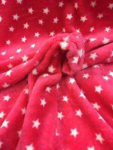 "STAR CUDDLE FLEECE 62"" SOFT TOUCH GREY &  RASPBERRY PINK ! PRICE per METER !"