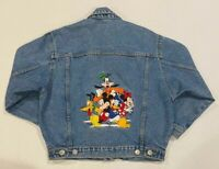 Disney Jean Jacket Embroidered Kids Size 14 Mickey Goofy Donald Pluto Minnie