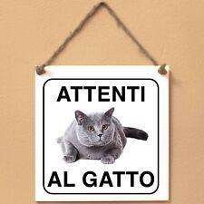 British Shorthair 3 Attenti al gatto Targa gatto cartello ceramic tiles