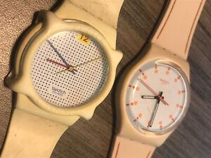 Rare Swatch Skin Peach  Dots Dial slim Watch Sun Dial Modern Sputnik Lot Of2 80s