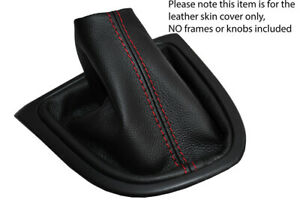 RED STITCH FITS RENAULT CLIO IV 2012-2018 SHIFT BOOT BLACK REAL LEATHER