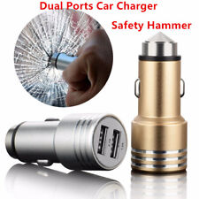 Emergency Safety Hammer Stainless Steel Dual Ports USB Car Charger Adapter Plug