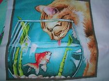 NEW CAT W /FISH BOWL  ELIZABETH STUDIO SQUARE PANEL QUILT BLOCK CHEATER  FABRIC
