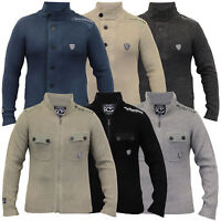 Mens Cardigans Rawcraft Cable Knitted Sweater Military Zip Button Winter New