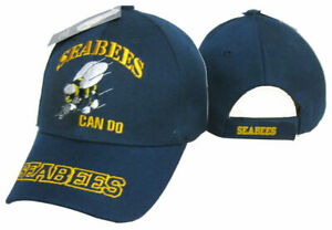 Official US Navy Licensed Seabees Can Do EMBROIDERED Hat Cap (BLUE)