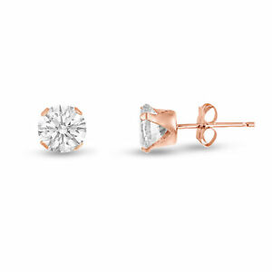 Rose Gold Plated Silver Stud Earrings Round Clear White CZ ~ April Birthstone