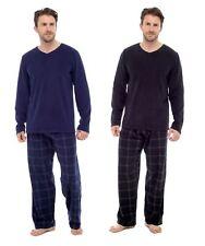 Men's Thermal Check Pyjamas, Long Sleeve Top & Pants Fleece PJS Loungewear RZK38