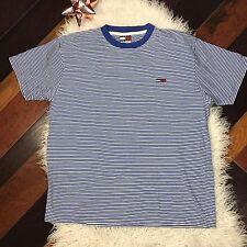 Vtg Tommy Hilfiger Jeans White Blue Striped T Shirt sz L Embroidered Flag Logo