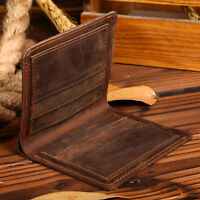 Handmade Mens Vintage Handbag Purse Slim Fold Mens Genuine Leather Bifold Wallet