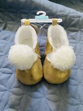 NEW! Carter's Baby Girl Crib Shoe Booties Size 0-3 Months Gold Pom Poms