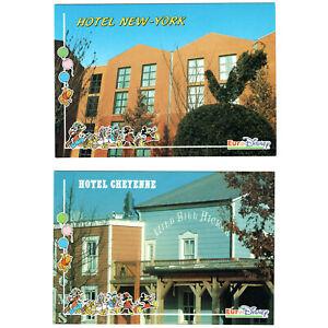 Euro Disney Unused Two Postcards Hotels New York and Cheyenne circa 1992