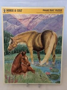 """VINTAGE 1992 FRAME TRAY PUZZLE """"HORSE & COLT"""" BY Rainbow Works"""