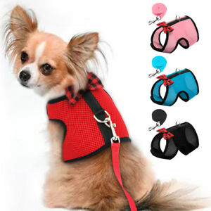 Pet Cat Walking Harness and Lead Adjustable Mesh Vest Leash for Small Puppy Dogs