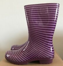 UGG Kids Girls Size 6 Raana Stripes Purple Passion Rubber Rain Boots Waterproof