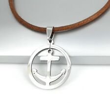 Silver Chrome Boat Anchor Stainless Steel Pendant Brown Leather Surfer Necklace
