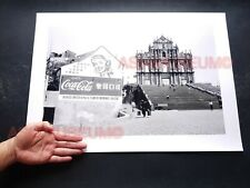 40's Macau Church Ruins St Paul's Cathedral Coke Sign Old Vintage Photo 澳门旧照片