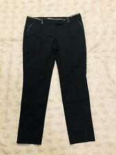 Ann Taylor Women's Black Skinny Cigarette Pant w/ Faux Leather Trim Petite Sz 12