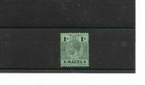 MALTA - 1914 Green 1/- on White Back Definitive - Mult Crown CA - SG 81 - m/m