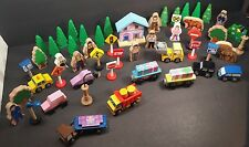Lot of 60+ Wooden Vehicles, Trains, People, Animals, Signs & Lights Kids craft
