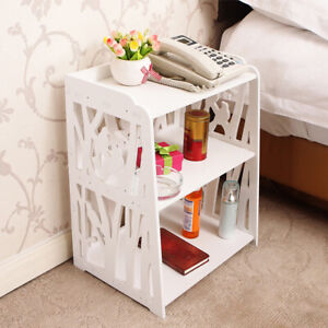 Wooden Shabby Chic Bedside Table Cabinet Nightstand Side End Cupboard Book Shelf