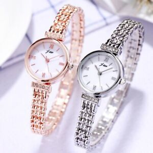 Woman`s Stylish Round Face Rhinestone Rose Gold Stainless Steel Quartz Watches