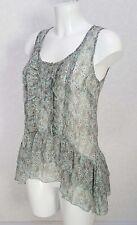 MISS SELFRIDGE blue grey Floral sheer chiffon sleeveless Ruffle Frill hem top 8