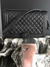 NWT CHANEL 2017 SO BLACK Boy Bag IRIDESCENT Caviar Lamb Lambskin NEW MEDIUM 17S