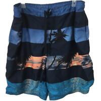OP bathing suit swim trunks Size 3XL mens blue palm tress sunset pockets lined