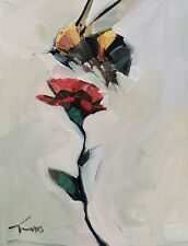 JOSE TRUJILLO Oil Painting IMPRESSIONISM 11X14 WHITE FLOWER BEE FYLING SIGNED NR