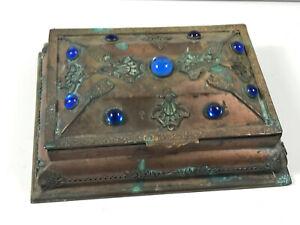 c.1900 Copper Edwardian Art Nouveau Mermaid Trinket Jewelry Box STUNNING