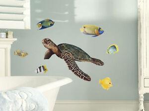 Tatouage Sea Turtle and Tropical Fish Dry rub Transfer
