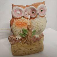 Vintage Owl Lamp Nightlight Tabletop Ceramic Owls Nature Electric Love Birds