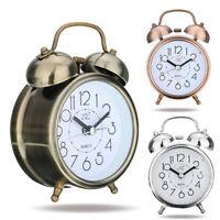 KQ_ Silent Analog Alarm Clock Vintage Retro Classic Night Light Extra Loud Twin