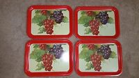 Set Of 4 Vintage Metal Fruit Lap TV Trays Red & Purple Grapes