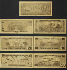 7pcs USA Gold Foil Banknotes 24K Dollars 1, 2, 5, 10, 20, 50, 100 Art Collection