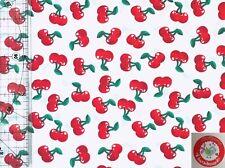 Baumwolle - Kirschen - weiß / rot - Stoffperle