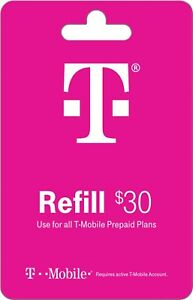 T-Mobile Prepaid $30 Refill Card Air Time/Top-Up/Recharge/Add-On/PIN/Refill
