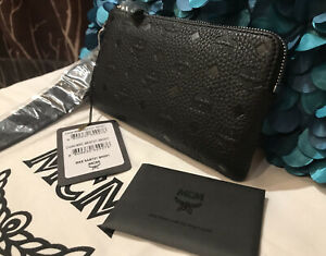 Authentic MCM Luggage Black Leather Pouch Clutch Bag, Large Zipped Wallet NEW