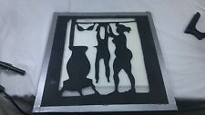 Metal Silhouette of  Naked Woman Hanging Clothes by Potbelly Stove,size 18x18