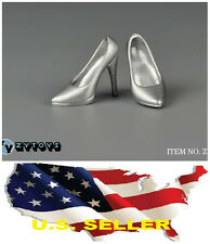 """❶❶1/6 scale shoes for 12"""" Female Figure silver high heeled shoes Phicen USA❶❶"""