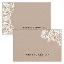 24 Lace Medley Kraft Brown Rustic Flat Wedding Reception Place Cards Q27382