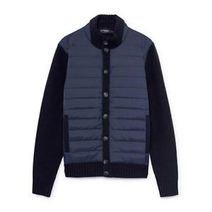 Men's Hackett, Padded Full Button Knitwear, Cardigan in Navy