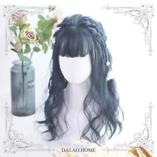 Harajuku Vintage Dark Blue Long Curls Sweet Cosplay Princess Wig Dolly Lolita