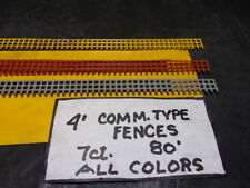 H.O. SCALE, COMMERICAL TYPE RAILINGS, MIXED  COLORS,   4' TALL,  80 SFt , 7 CT.