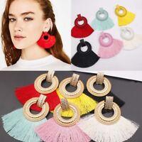 Fashion Womens Bohemian Tassel Fringe Circle Ear Stud Dangle Earrings Jewelry UK
