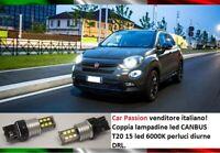 COPPIA LUCI DIURNE DRL 15 LED T20 W21W FIAT 500X LAMPADINE 6000K CANBUS NO ERROR