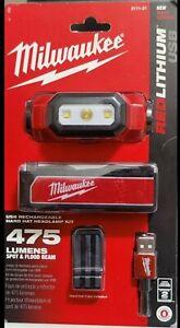 (NEW)👌Milwaukee ~ Lumen Rechargeable LED ~ Water Resistant ~ Hard Hat Headlamp