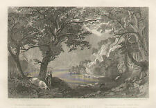 Loch Katrine From Lady Of The Lake Horse Dogs and Verse 1873 Antique Art Print